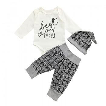 3-piece 'Best Day Ever' Long-sleeve Bodysuit, Graphic Pattern Pants and Hat for Baby