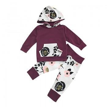 2-piece Pretty Floral Print Hooded Cotton Top and Pants for Baby Girl