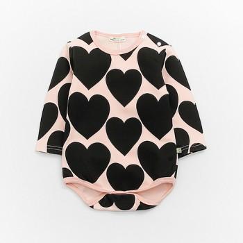 Sweet Love Pattern Long-sleeve Bodysuit for Baby