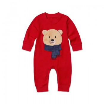 Baby's Cute Appliqued Bear Long-sleeve One Piece