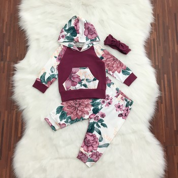 3-piece Floral Hooded Top, Pants and Bow Headband for Baby Girl