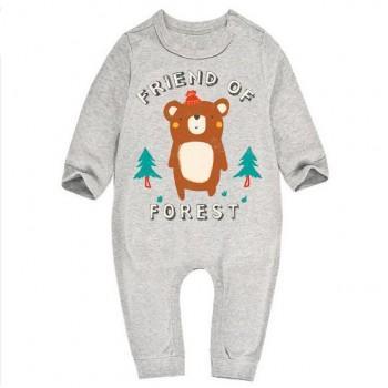Cute Bear FRIEND Print Long-sleeve Grey Jumpsuit for Baby