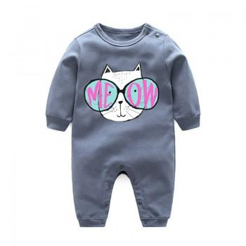 Cool Glasses Cat Print Grey Long-sleeve Jumpsuit for Baby