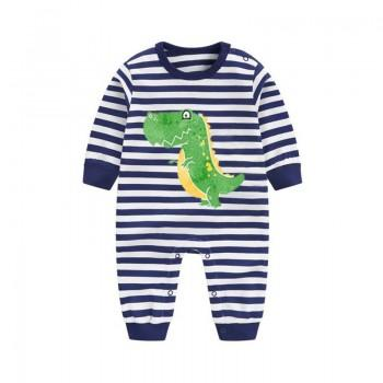 Cute Dinosaur Striped Navy Long-sleeve Jumpsuit for Baby