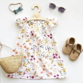 Pretty Floral Short-sleeve Dress for Baby Girl
