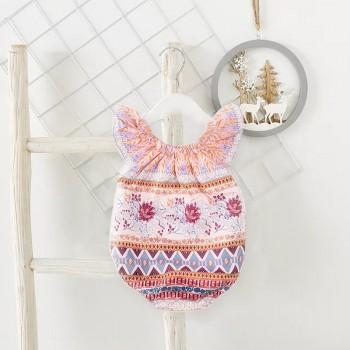 Stylish Boho Pattern Short-sleeve Bodysuit for Baby Girl