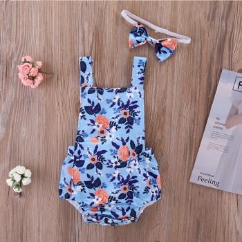 Lovely Floral Sleeveless Bodysuit with Headband for Baby Girl