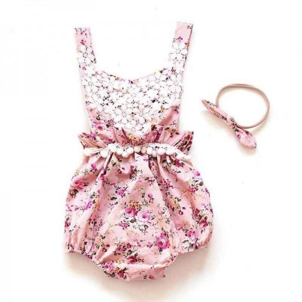 Fashionable Floral Lace Bodysuit with Headband for Baby Girl