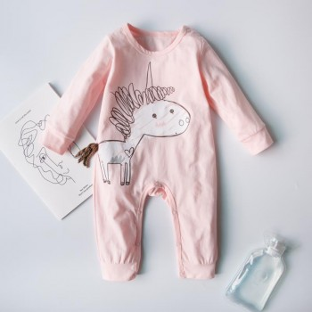 Sweet Unicorn Graphic Jumpsuit in Pink for Baby