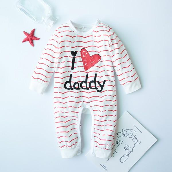 "Cute ""I love daddy"" Printed  Striped Long-sleeve Jumpsuit"