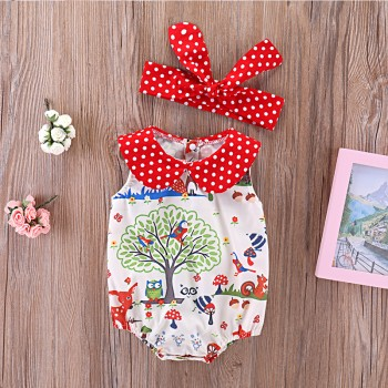 Pretty Animal Patterned Bodysuit and Headband Set for Baby Girl