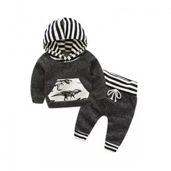 2-piece Dinosaur Print Stripes Hooded Top and Pants Set for Baby Boy
