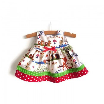 Lovely Zoo Print Bow Decor Sleeveless Dress for Baby and Toddler Girl