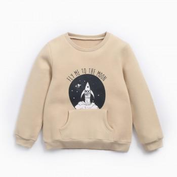 Warm Rocket Graphic Sweatshirt in Khaki for Kid