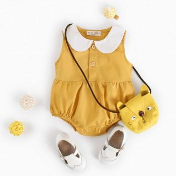 Solid Peter Pan Collar Sleeveless Bodysuit in Yellow for Baby Girl