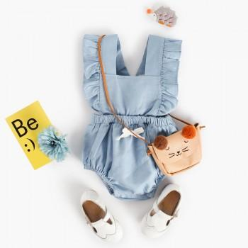 Pretty Solid Ruffled Backless Romper for Baby Girl