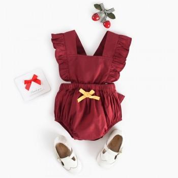 Lovely Solid Ruffled Sleeveless Romper for Baby Girl