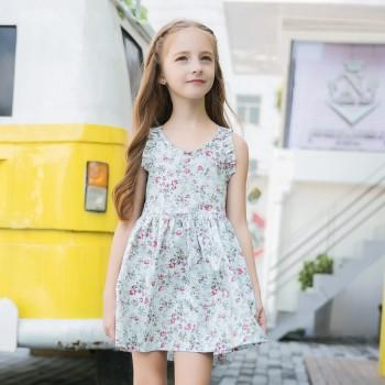 Lovely Ruffled Sleeves Floral Dress for Girls
