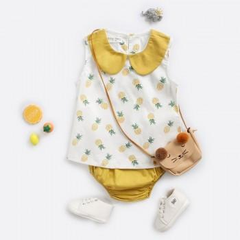 Cute Sleeveless Pineapple Top and PP Shorts Set for Baby Girl