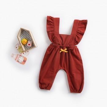 Chic Ruffled Sleeveless Overalls Jumpsuit for Baby and Toddler