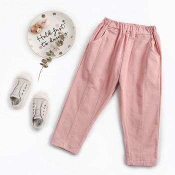 Casual Full Cotton Solid Pants for Baby and Toddler Girl