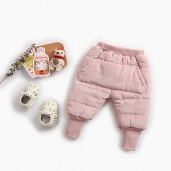 Warm Fleece-lining Pocket Design Solid PP Pants