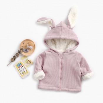 Stylish Rabbit Design Fleece-lining Long-sleeve Hooded Coat for Baby