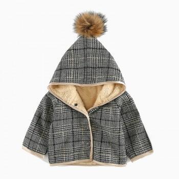 Baby's Plaid Fleece Lined Hooded Long-sleeve Coat Unisex