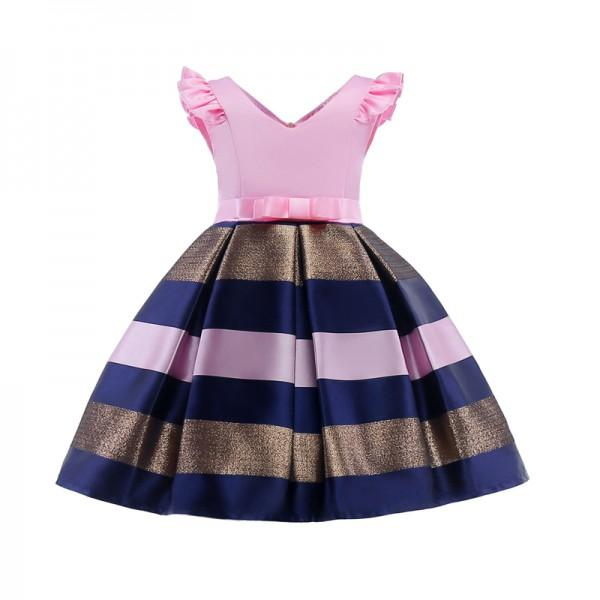 Girl's Elegant Stripes Angle-sleeve Party Dress