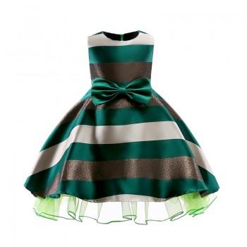 Chic Big Bow Decor A-line Stripes Sleeveless Party Dress for Girl