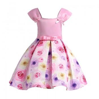 Chic A-line Bowknot Decor Rose Print Party Dress for Girl