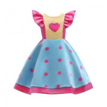 Pretty Polka Dotted Back Bow Decor Flutter Sleeves Dress for Girl