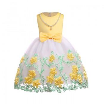 Elegant Floral Applique Sleeveless Tulle Party Dress for Girl