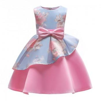 Girl's A-line Floral Sleeveless Sateen Party Dress