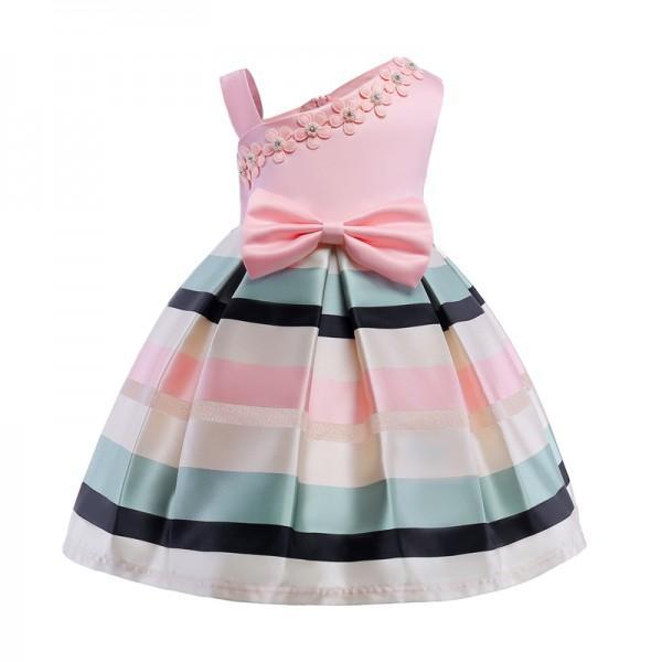 Elegant Color Block Stripes One Shoulder Dress