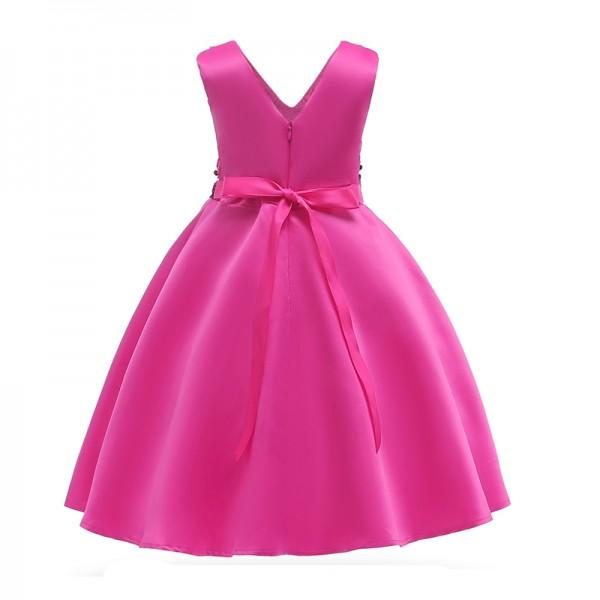 Girl's Sequins Decor V Neck Sateen Party Dress
