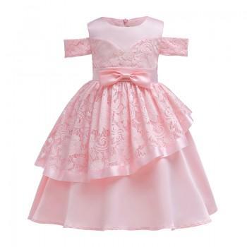 Elegant Open Shoulder Satin Party Dress for Toddler Girl and Girl