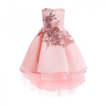 Delicate Flower Embroider Pleated High-low Party Dress for Toddler Girl and Girl