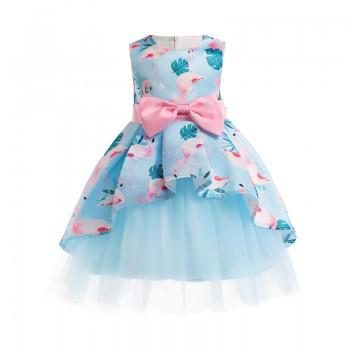 Pretty Flamingo Pattern Asymmetric Tulle Party Dress for Toddler  Girl and Girl