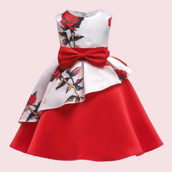 Pretty Bowknot Ruffled Floral Sleeveless  Party Dress