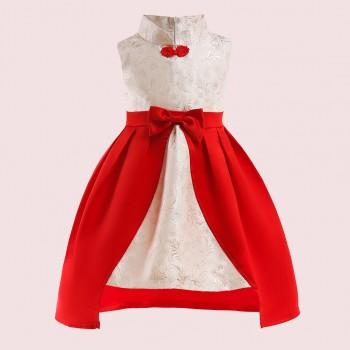 Elegant Allover Stand Collar Bowknot Decor Splice Sleeveless Party Dress