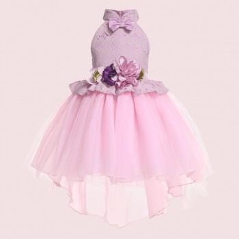 Elegant Flower and Bow Decor Lace Tull Splice Party Dress