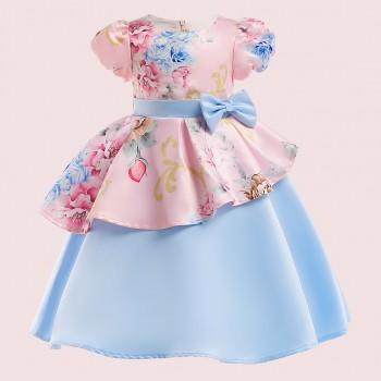 Stylish Flower Allover Bow Decor Puff-sleeve Party Dress