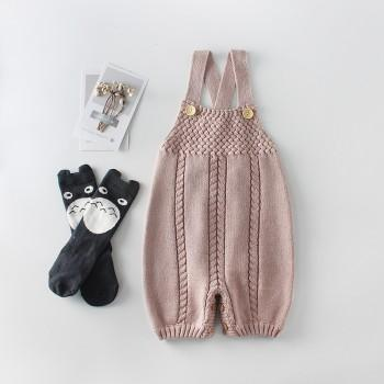 Stylish Button Design Knitted Slip Jumpsuit for Baby Girl