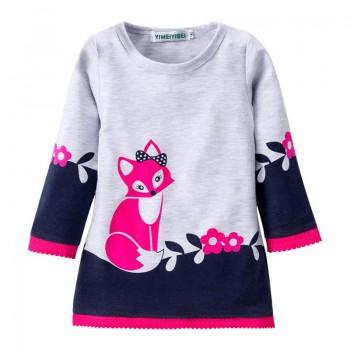 Girl's Cute Fox Printed Long Sleeve Dress