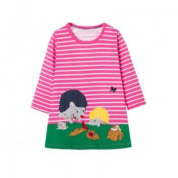 Cute Hedgehog Applique Long Sleeves Stripes Dress for Girls
