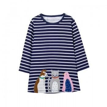 Animal Friends Applique Stripes Long Sleeves Dress for Girls
