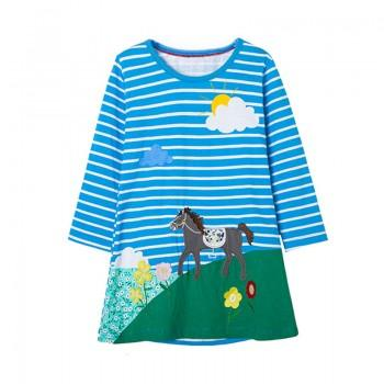 Bright Horse Applique Striped Long Sleeve Dress for Baby Girl and Girl