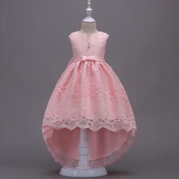 Girl's Elegant High-low Lace Party Dress Wedding Dress