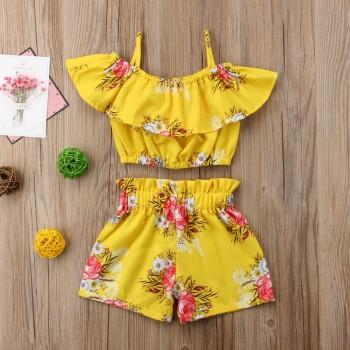2-piece Floral Open-shoulder Top and Shorts Set for Girl and Toddler Girl